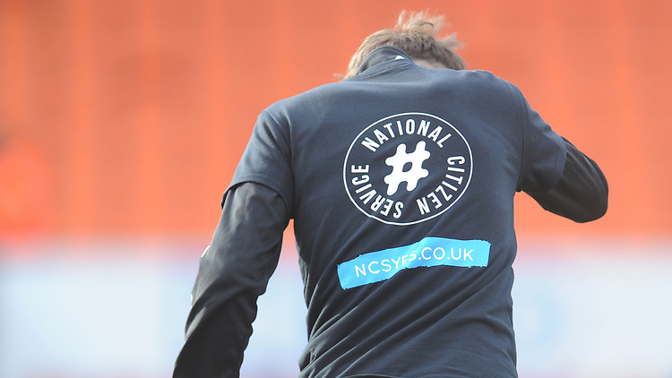 Blackpool players wear National Citizen Service t-shirts during the pre-match warm-up <br /> <br /> Photographer Kevin Barnes/CameraSport<br /> <br /> The EFL Sky Bet League One - Blackpool v Walsall - Saturday 9th February 2019 - Bloomfield Road - Blackpool<br /> <br /> World Copyright &copy; 2019 CameraSport. All rights reserved. 43 Linden Ave. Countesthorpe. Leicester. England. LE8 5PG - Tel: +44 (0) 116 277 4147 - admin@camerasport.com - www.camerasport.com