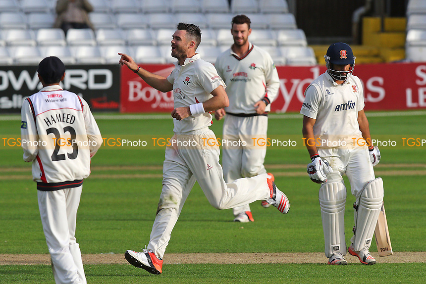 James Anderson of Lancashire celebrates taking the wicket of Ravi Bopara (R) during Essex CCC vs Lancashire CCC, Day Two
