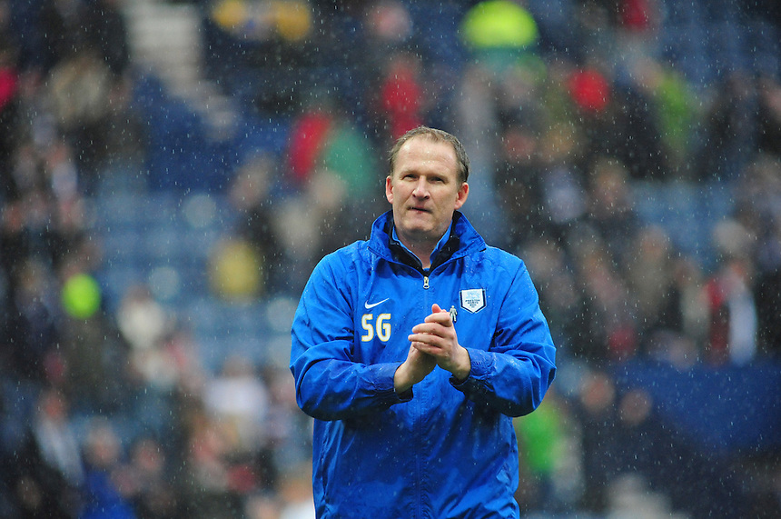 Preston North End's Manager Simon Grayson applauds the fans at the end of the game<br /> <br /> Photographer Chris Vaughan/CameraSport<br /> <br /> Football - The Football League Sky Bet League One Play-Off First Leg - Preston North End v Rotherham United - Saturday 10th May 2014 - Deepdale - Preston<br /> <br /> &copy; CameraSport - 43 Linden Ave. Countesthorpe. Leicester. England. LE8 5PG - Tel: +44 (0) 116 277 4147 - admin@camerasport.com - www.camerasport.com
