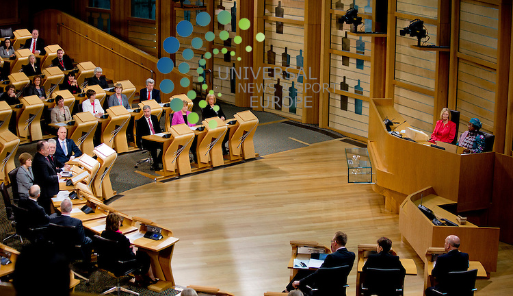 Malawi president, Joyce Banda, makes an official state visit to the Scottish Parliament, coinciding with David Livingstone's birthday anniversary...Malcolm McCurrach (Universal News and Sport) - 19/03/2013