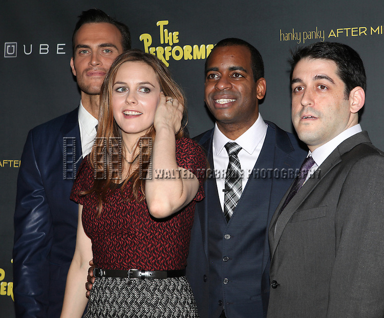 Henry Winkler, Cheyenne Jackson, Alicia Silverstone, Daniel Breaker, & Evan Cabnet attending the Broadway Opening Night Performance After Party for 'The Performers' at E-Space in New York City on 11/14/2012