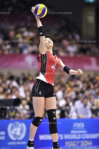 Kanako Hirai (JPN),<br /> AUGUST 16, 2013 - Volleyball :<br /> 2013 FIVB World Grand Prix, Preliminary Round Week 3 Pool M match Japan 0-3 Bulgaria at Sendai Gymnasium in Sendai, Miyagi, Japan. (Photo by Ryu Makino/AFLO)