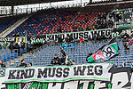09.02.2019, HDI Arena, Hannover, GER, 1.FBL, Hannover 96 vs 1. FC Nuernberg<br /> <br /> DFL REGULATIONS PROHIBIT ANY USE OF PHOTOGRAPHS AS IMAGE SEQUENCES AND/OR QUASI-VIDEO.<br /> <br /> im Bild / picture shows<br /> &quot;Kind muss weg&quot; Banner in Nordkurve der HDI Arena, <br /> <br /> Foto &copy; nordphoto / Ewert