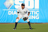 Tampa Yankees outfielder Mason Williams #14 during a game against the Lakeland Flying Tigers at Steinbrenner Field on April 6, 2013 in Tampa, Florida.  Lakeland defeated Tampa 8-3.  (Mike Janes/Four Seam Images)