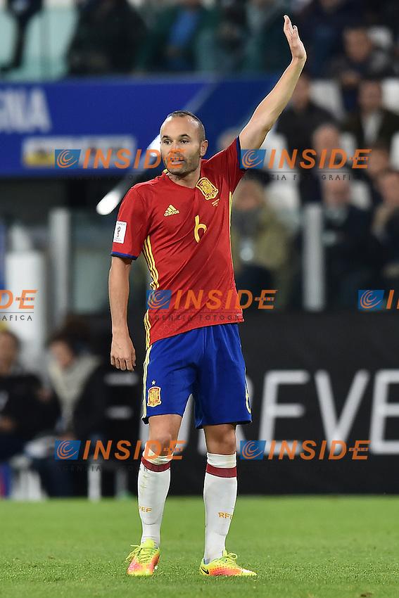 Andres Iniesta Spain <br /> Torino 06-10-2016 Juventus Stadium <br /> World Cup Qualifiers Italy - Spain / Italia - Spagna. Foto Andrea Staccioli / Insidefoto