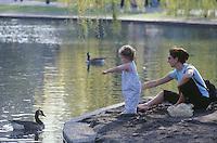 Public Garden spring mother & child, Boston, MA
