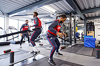 (L-R) Jordan Ayew, Tammy Abraham and Luciano Narsingh exercise in the gym during the Swansea City Training at The Fairwood Training Ground, Swansea, Wales, UK. Wednesday 21 February 2018