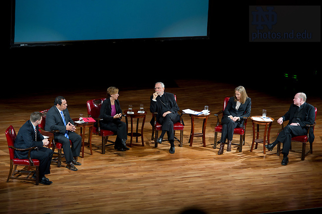 """September 28, 2011; From left to right, Professor David Campbell, Juan Rangel, CEO for the United Neighborhood Organization, Randi Weingarten, president of the American Federation of Teachers, AFL-CIO, Bishop Gerald F. Kicanas and Wendy Kopp, CEO and founder of Teach For America and Rev. Timothy R. Scully, C.S.C. participate in a discussion titled, """"The Conversation: Developing the Schools Our Children Deserve"""" part of the 2011-12 Notre Dame Forum at the Leighton Concert Hall. Photo by Barbara Johnston/University of Notre Dame"""