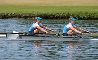"Henley on Thames, United Kingdom, 24th June 2018, Sunday, ""Henley Women's Regatta"", view, ""E. SAUNDERS and I. de HONINGH"" , from ""K S R V Njord"", NED, Henley Reach, River Thames, Thames Valley, England, © Peter SPURRIER,  24/06/2018"