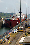An oil tanker makes its way through the Gatun Lock on the Caribbean side of the Panama Canal.  ..Panama, Canal, shipping, locks, oil tanker