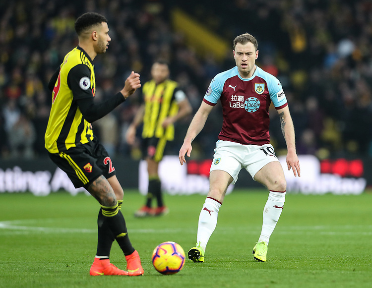 Burnley's Ashley Barnes competing with Watford's Etienne Capoue<br /> <br /> Photographer Andrew Kearns/CameraSport<br /> <br /> The Premier League - Watford v Burnley - Saturday 19 January 2019 - Vicarage Road - Watford<br /> <br /> World Copyright © 2019 CameraSport. All rights reserved. 43 Linden Ave. Countesthorpe. Leicester. England. LE8 5PG - Tel: +44 (0) 116 277 4147 - admin@camerasport.com - www.camerasport.com