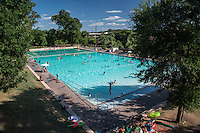 Deep Eddy Pool is a historic, man-made swimming pool in Austin, Texas. Deep Eddy is the oldest swimming pool in Texas and features a bathhouse built during the Depression era by the Works Progress Administration.