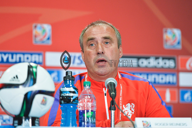 Netherlands' Head Coach Roger Reijners addresses press conference on the even of the opening Women's World Cup Soccer match, June 05, 2015 in Edmonton, Alberta. (Mo Khursheed/TFV Media via AP Images)