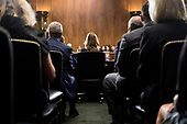 UNITED STATES - SEPTEMBER 27: Dr. Christine Blasey Ford prepares to testify on Thursday, Sept. 27, 2018, during the Senate Judiciary Committee hearing on the nomination of Brett M. Kavanaugh to be an associate justice of the Supreme Court of the United States, focusing on allegations of sexual assault by Kavanaugh against Christine Blasey Ford in the early 1980s. (Photo By Tom Williams/CQ Roll Call/POOL)