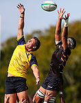 Johannes Leituala of Kings takes a lineout during the pre-season 1st XV rugby match between Kings College and Scots College of Australia. Kings College, Auckland, New Zealand. Saturday 9th April 2016. Photo: Simon Watts/www.bwmedia.co.nz