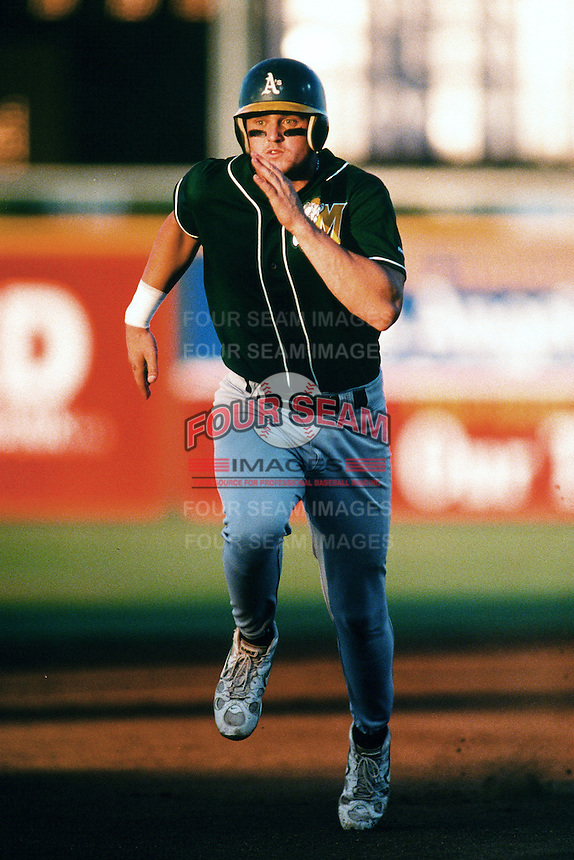 Jason Hart of the Modesto A's during a California League baseball game circa 1999. (Larry Goren/Four Seam Images)