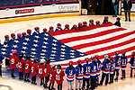 December 14, 2019:  Opening ceremonies in the first game of a 5-match series featuring the USA vs. Canada women's ice hockey. Team USA won the game 4-1. The feisty match took place at the XL Center in Hartford, Connecticut. Heary/Eclipse Sportswire/CSM