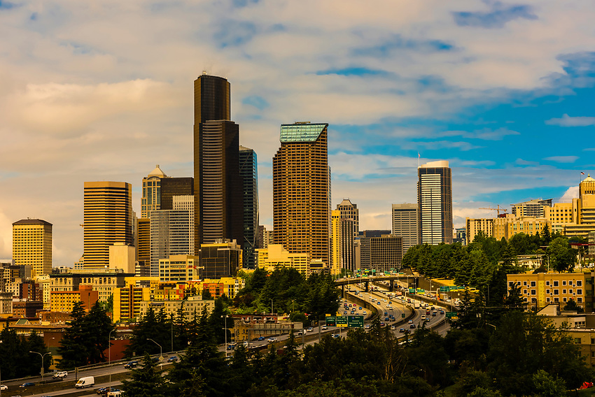 Downtown Seattle with  Interstate 5 in foreground, Seattle, Washington USA.