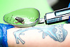 ZSL London Zoo Annual Weigh-in at London Zoo, Regent's Park, London, Great Britain <br /> 26th August 2015 <br /> <br /> Iberian Midwife Toad weighed-in at 0.5g<br /> with zoo keeper Zoe Bryant who has a frog tattoo on her arm <br /> <br /> Photograph by Elliott Franks <br /> Image licensed to Elliott Franks Photography Services