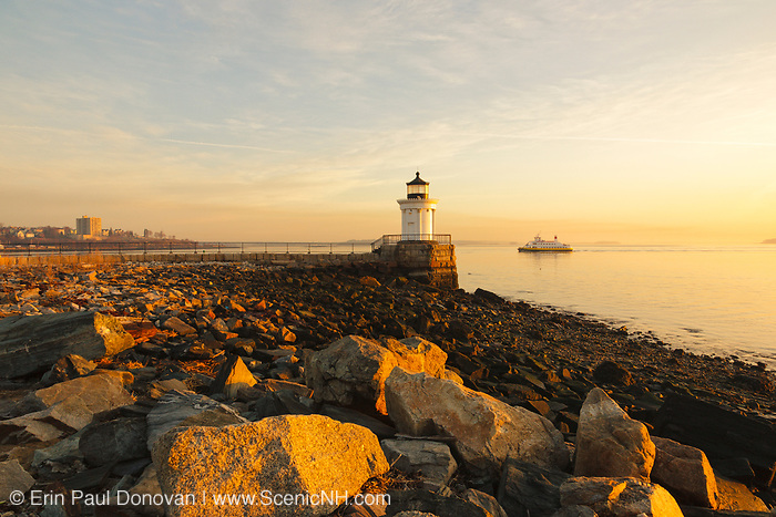 "Portland Breakwater Light during the spring  months. Located in Portland, Maine USA. Portland Breakwater Light is also called the ""Bug Light"" and is located at the entrance to Portland Harbor. It was designed after a Greek monument"