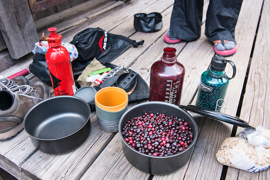 A bowl of huckleberries makes for a sweet ending to a long day of hiking at the Pendant Cabin in Montana's Bob Marshall Wilderness.