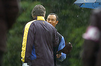 Ryder Cup K Club Straffin Co Kildare..American Ryder Cup Team player Tiger Woods congratulates Darren Clarke on the 17th green during the morning fourball session of the second day of the 2006 Ryder Cup at the K Club in Straffan, County Kildare, in the Republic of Ireland, 23 September, 2006..Photo: Barry Cronin/ Newsfile.