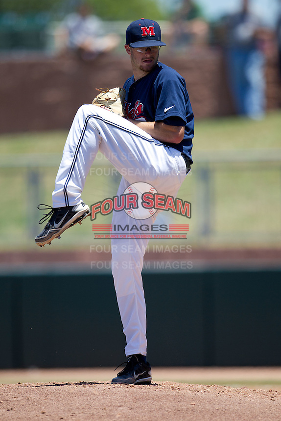 Pitcher Bobby Wahl #19 of the Ole Miss Rebels winds up during the NCAA Regional baseball game against the Texas Christian University Horned Frogs on June 1, 2012 at Blue Bell Park in College Station, Texas. Ole Miss defeated TCU 6-2. (Andrew Woolley/Four Seam Images).