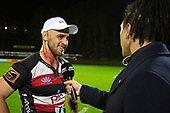 Steelers Captain Sam Henwood gets interviewedby Sky Tv after the  Mitre 10 Cup rugby game between Counties Manukau Steelers and Taranaki Bulls, played at Navigation Homes Stadium, Pukekohe on Saturday August 10th 2019. Taranaki won the game 34 - 29 after leading 29 - 19 at halftime.<br /> Photo by Richard Spranger.