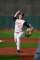 Cedar Rapids Kernels pitcher Keaton Steele (27) delivers a pitch during a game against the Kane County Cougars on August 18, 2015 at Perfect Game Field in Cedar Rapids, Iowa.  Kane County defeated Cedar Rapids 1-0.  (Mike Janes/Four Seam Images)