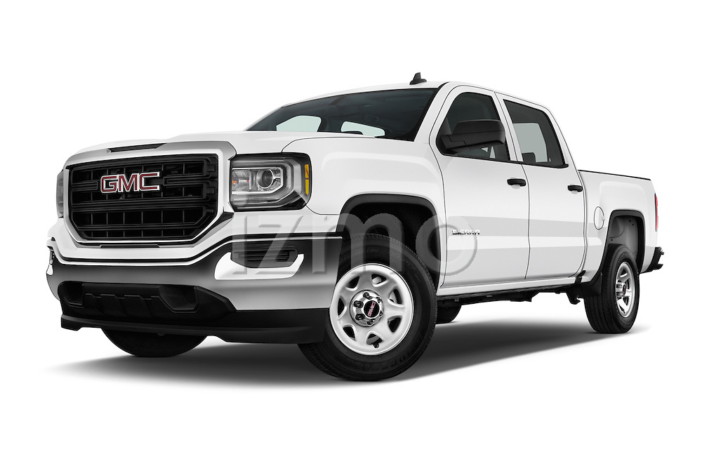 Stock pictures of low aggressive front three quarter view of 2016 GMC Sierra 1500 2WD Crew Cab Short Box 4 Door Pick-up Low Aggressive