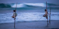 Panoramic photo of stilt fishermen at Midigama near Weligama, South Coast, Sri Lanka, Asia. This is a panoramic photo of a stilt fishermen at Midigama near Weligama on the South Coast of Sri Lanka, Asia. These stilt fishermen are continuing an age old tradition of fishing on the South Coast of Sri Lanka.