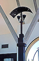 Rob W. Quigley: Linda Vista Library, interior detail. Copper-shaded light standard. Photo '97.