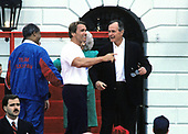 United States President George H.W. Bush with Arnold Schwarzenegger as he and first lady Barbara Bush kick-off the Great American Workout Month with US Secretary of Health and Human Services Louis Sullivan on the South Lawn of the White House in Washington, D.C. on May 1, 1990.<br /> Credit: Howard L. Sachs / CNP