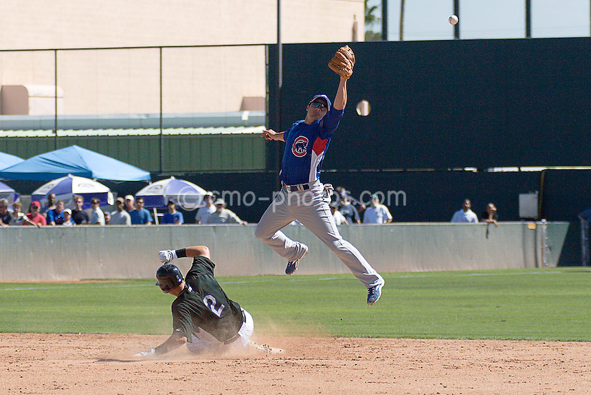 Mar 21, 2008; Tucson, AZ, USA;  Chicago Cubs shortstop Ryan Theriot (2) tries to catch a high throw from the catcher during a stolen base attempt by Colorado Rockies shortstop Troy Tulowitzki (2) in the bottom of the 5th inning of a game between the Colorado Rockies and the Chicago Cubs at Hi Corbett Field.