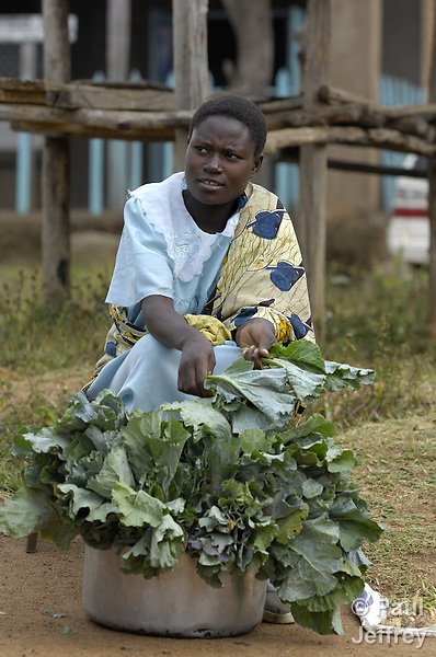 A woman selling produce in the remote Kenyan village of Kopanga, where the town's clinic is operated by the Methodist Church of Kenya and receives support from mission giving of United Methodist Women.