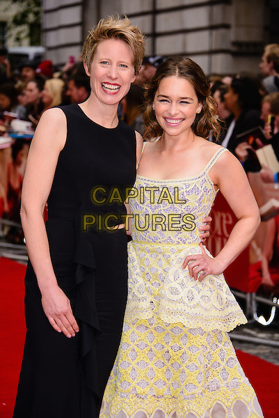 LONDON, ENGLAND - MAY 25: Emilia Clarke and Thea Sharrock arrive at the Me Before You European premiere at the Curzon Mayfair, on May 25th, 2016 in London, England. <br /> CAP/JC<br /> &copy;JC/Capital Pictures