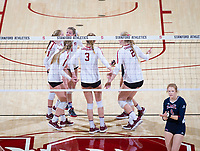 STANFORD, CA - December 1, 2018: Meghan McClure, Holly Campbell, Kathryn Plummer, Kate Formico, Jenna Gray at Maples Pavilion. The Stanford Cardinal defeated Loyola Marymount 25-20, 25-15, 25-17 in the second round of the NCAA tournament.