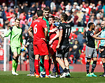 Fraser Forster of Southampton and James Milner of Liverpool together during the English Premier League match at Anfield Stadium, Liverpool. Picture date: May 7th 2017. Pic credit should read: Simon Bellis/Sportimage