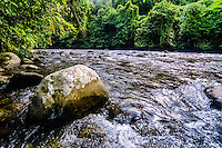 Indonesia, Sumatra. Bukit Lawang. Gunung Leuser nasjonalpark. The Bohorok river continue further down through Bukit Lawang.