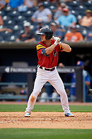 Toledo Mud Hens Jacob Robson (7) bats during an International League game against the Durham Bulls on July 16, 2019 at Fifth Third Field in Toledo, Ohio.  Durham defeated Toledo 7-1.  (Mike Janes/Four Seam Images)