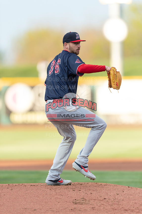Memphis Redbirds starting pitcher Austin Gomber (36) during a Pacific Coast League game against the Omaha Storm Chasers on April 26, 2019 at Werner Park in Omaha, Nebraska. Memphis defeated Omaha 7-3. (Zachary Lucy/Four Seam Images)
