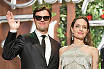 "Actors Angelina Jolie and Sam Riley attend a Japan premiere for Disney's ""Maleficent: Mistress of Evil"" on October 3, 2019, in Tokyo, Japan. The movie is a sequel to 2014 hit ""Maleficent"" and will be released on October 18. (Photo by AFLO)"