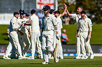 Stuart Broad of England celebrates with team mates the wicket of Kane Williamson of the Black Caps during the final day of the Second International Cricket Test match, New Zealand V England, Hagley Oval, Christchurch, New Zealand, 3rd April 2018.Copyright photo: John Davidson / www.photosport.nz
