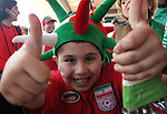11 June 2006: A young Iran fan gives the thumbs up signal. Mexico played Iran at the Frankenstadion in Nuremberg, Germany in match 7, a Group D first round game, of the 2006 FIFA World Cup.