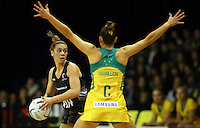 12.10.2016 Silver Ferns Grace Rasmussen in action during the Silver Ferns v Australia netball test match played at the Silver Dome in Launceston in Australia.. Mandatory Photo Credit ©Michael Bradley.