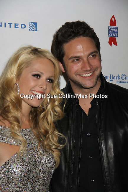 All My Children Natalie Hall & General Hospiral Brandon Barash at ABC Daytime Salutes Broadway Cares/Equity Fights Aids - The Grand Finale Celebration on March 13, 2011 with a musical show at Town Hall, New York City, New York followed by an after party at the New York Marriott Marquis. (Photo by Sue Coflin/Max Photos)