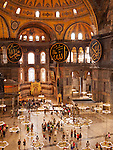 Hagia Sophia Interior 04 - Tourists in the nave of  Hagia Sophia (Aya Sofya) basilica, Sultanahmet, Istanbul, Turkey