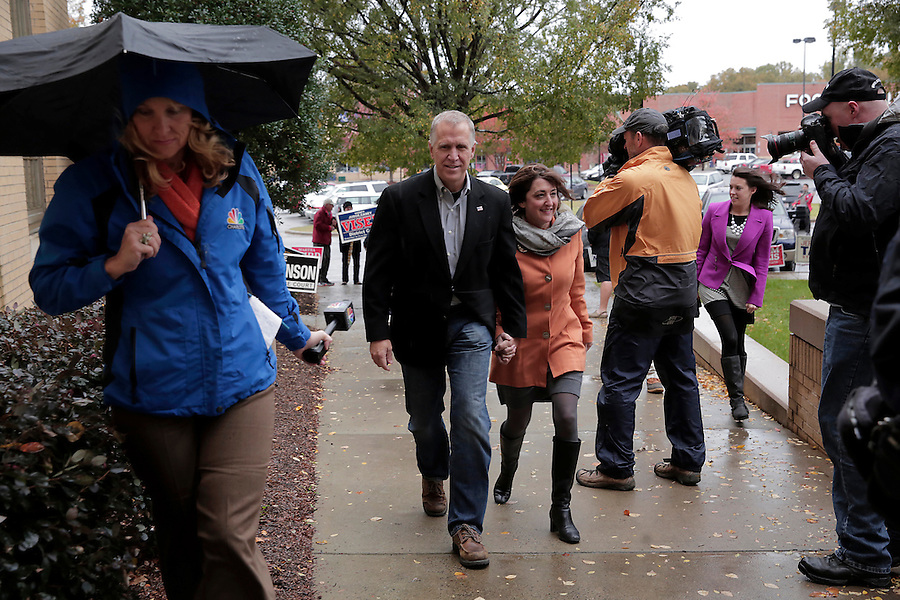 CORNELIUS, NC - NOVEMBER 1:  North Carolina candidate for U.S. Senate Thom Tillis arrives with his wife Susan Tillis to participate in early voting at Cornelius Town Hall in Cornelius, NC, on Saturday, November 1, 2014.  (Photo by Ted Richardson/For The Washington Post)