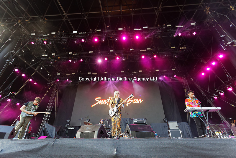 Pictured: Sunflower Bean. Saturday 29 June 2019<br /> Re: Manic Street Preachers concert at Cardiff Castle, south Wales, UK.