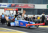 Jun. 1, 2012; Englishtown, NJ, USA: NHRA top fuel dragster driver T.J. Zizzo during qualifying for the Supernationals at Raceway Park. Mandatory Credit: Mark J. Rebilas-